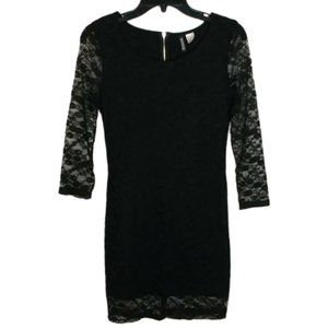 Divided H&M Black Lace Overlay Bodycon Dress Sz 8
